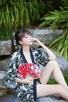 Japanese Black Kimono Coat Vintage Women Rabbit Print Bathrobe Yukata Jacket Causal Summer Tops