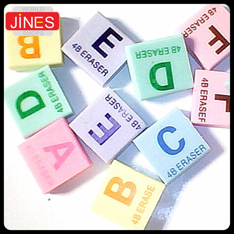 50pcs/lot Cartoon Puzzle English Letter Eraser For Kid's Birthday Christmas Gift Rubber Cute Stationery Prize Free Shipping