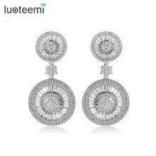 LUOTEEMI 2016 New Luxury Noble Dangle Shining CZ Crystal Double Round Brincos Statement Drop Earrings for Women Wedding Jewelry