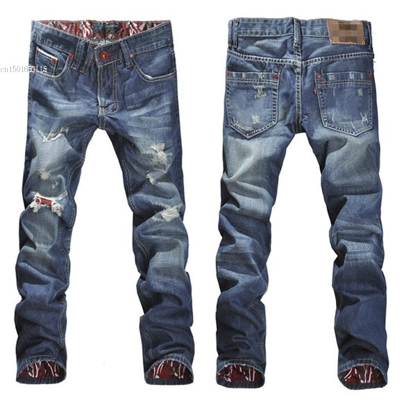 New 2014 Mens Stylish Designed Jeans Men Straight Slim Fit Trousers Casual Jean Pants Size 30