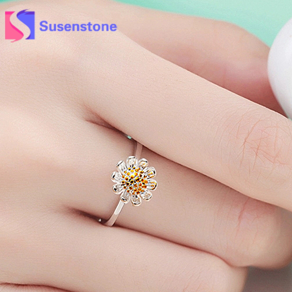 2018 Exquisite Silver Crystal Sunflower Wedding Rings For Women ...
