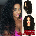 New Wig Jet Black Deep kinky Curly Synthetic Lace Front Wig with Baby Hair synthetic Heat Resistant Fiber Glueless Lace Wigs