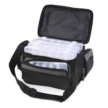 LEO kołowrotek wędkarski przynęta torba wielofunkcyjna 42*26*17cm wędkarstwo przechowywania torba na ramię z/bez 5 pudełka do sprzętu cewki przypadku