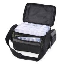 LEO sac à leurres de pêche, sac multifonctionnel, 42*26*17cm, sac à bandoulière de rangement avec/sans 5 boîtes de matériel, étui à bobine