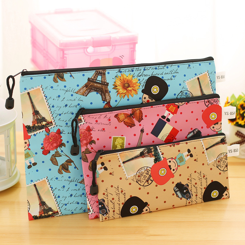 1pc Leather A4 A5 A6 Document Folder Cute Soldier Document File Bag Information Pack Blue School Supplies Stationery Wholesale