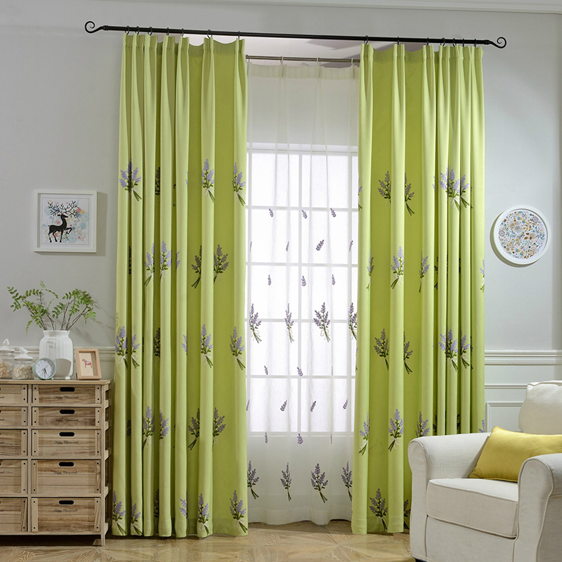 Lavender Pastoral Embroidered Blackou Curtains Window Curtain Living Room  Kitchen Decoration Bedroom Green 3d Kids Curtains