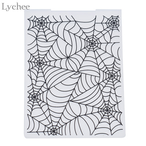 Lychee Life Plastic Embossing Folder For Scrapbook DIY Album Card Tool Plastic Template Stamp Spider Web Pattern