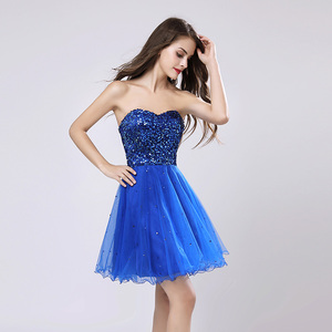 Image 3 - Sweety Royal Blue Sequins Short Prom Dresses Sweetheart Organza A Line Party Gown Lace Up Rode De Soiree In Stock Cheap SLD032