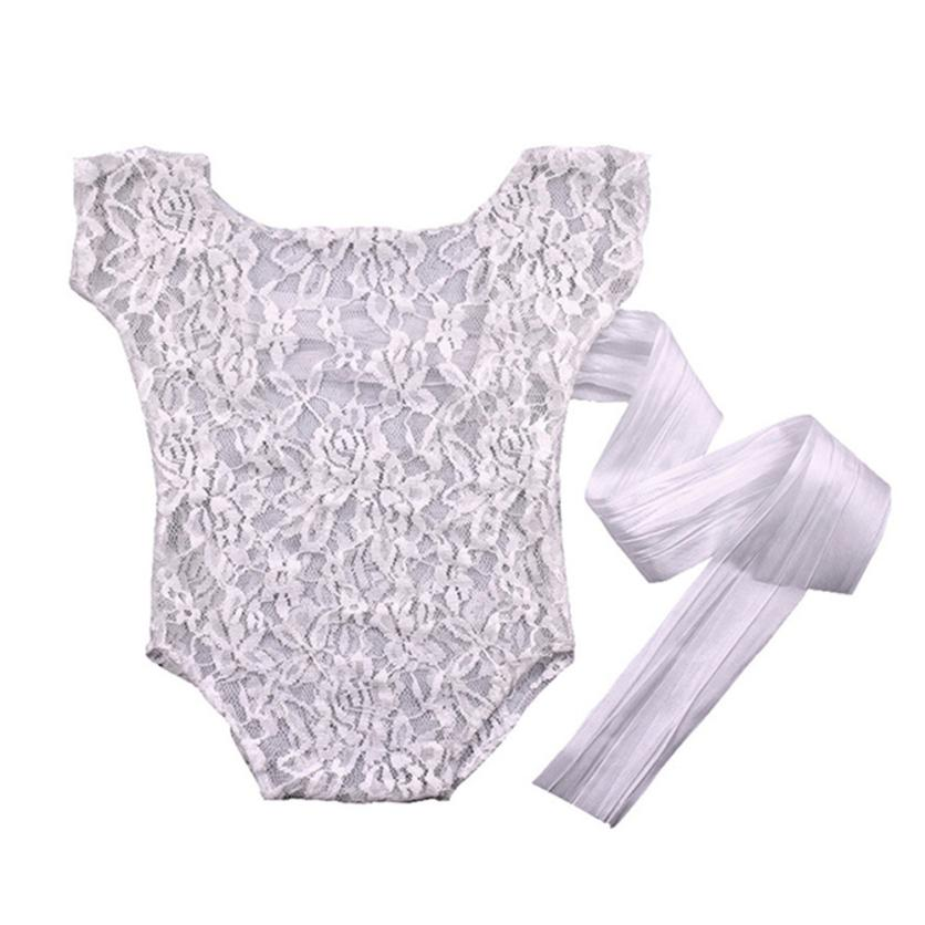 MUQGEW Acrylic Baby Girls Photography Props Lace Baby Onesie Bow Romper Princess Clothes Baby Rompers Body Infantil W06 newest newborn photography props baby romper studio photography accessories lace romper back tie girls outfit baby girl lace