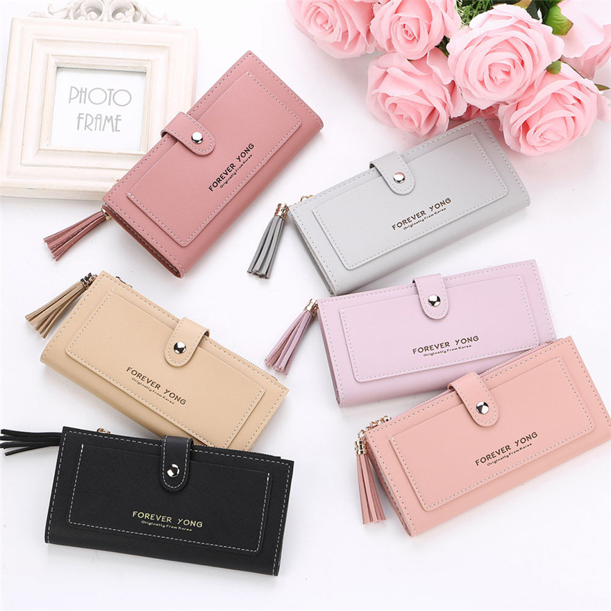 Fashion Handbag Wallet Women Simple Retro Letters Long Wallet Coin Purse Card Holders Handbag Purse Female Original Leather