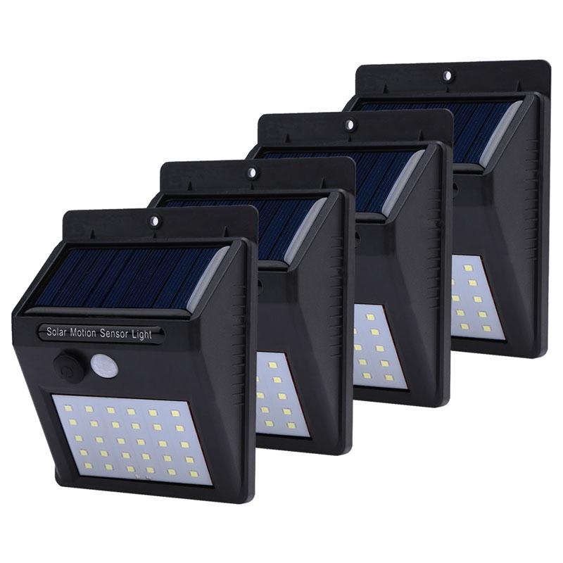 1-piezas 4 PCs luz Solar recarga 20/30 LED PIR Sensor de movimiento lámpara Solar exterior jardín lámpara decoración noche seguridad pared Luz