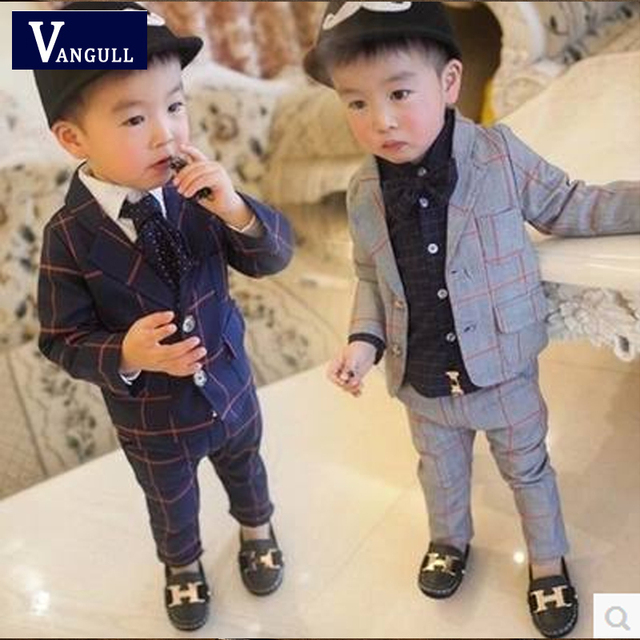 2016 autumn and winter hot boy suit British fashion classic plaid Slim suits 2 color