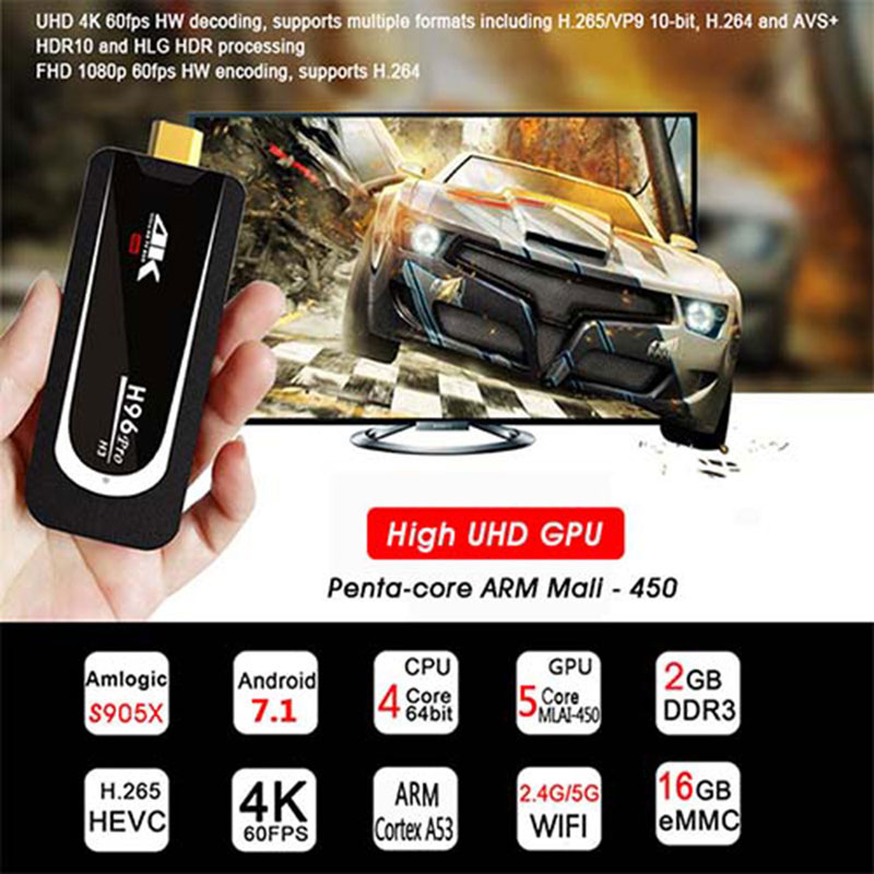 H96 Pro 4 K Tv Stick Android 7.1 OS Amlogic S905X Quad Core 2G 16G Mini PC 2.4G 5G Wifi BT4.0 1080 P HD Miracast TV dongle H96Pro - 2