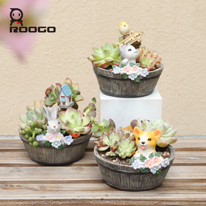 Image 4 - Roogo Americano Stile Vasi di Fiori In Resina Vasi di Fiori Per La Casa Decorazione del Giardino In Legno Vaso Bonsai Succulente Fioriere Orchidee Cactus
