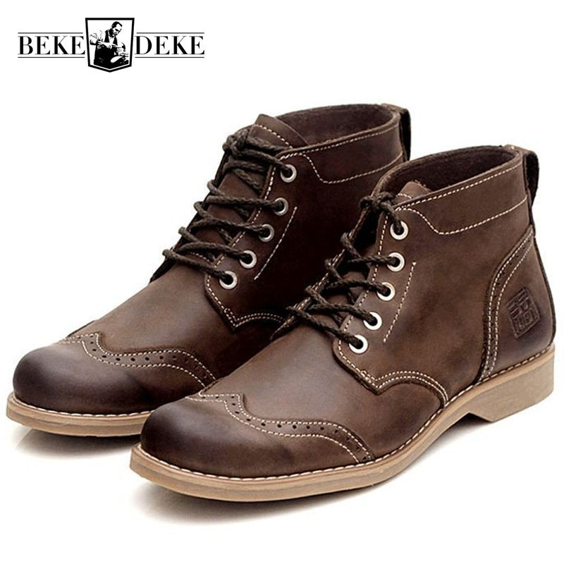 Retro Brogue Knight Boots For Men Breathable Genuine Leather British Ankle Boots Lace Up Casual High Top Safety Zapatos HombreRetro Brogue Knight Boots For Men Breathable Genuine Leather British Ankle Boots Lace Up Casual High Top Safety Zapatos Hombre
