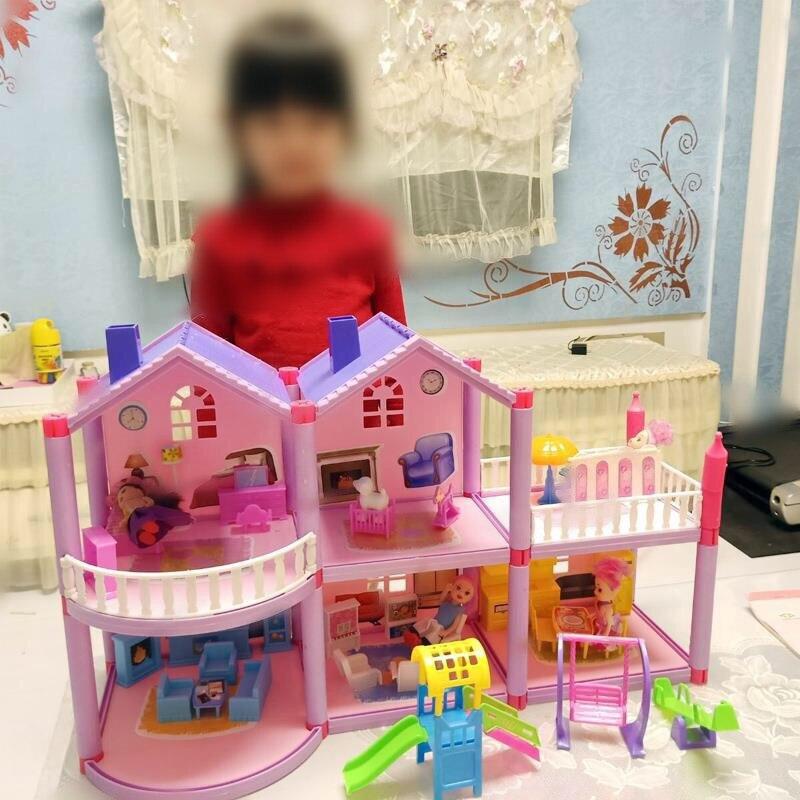 Fait à la main en plastique LOL maison de poupée château bricolage maison jouet Miniature maison de poupée cadeaux d'anniversaire poupée éducative fille Villa maison jouets