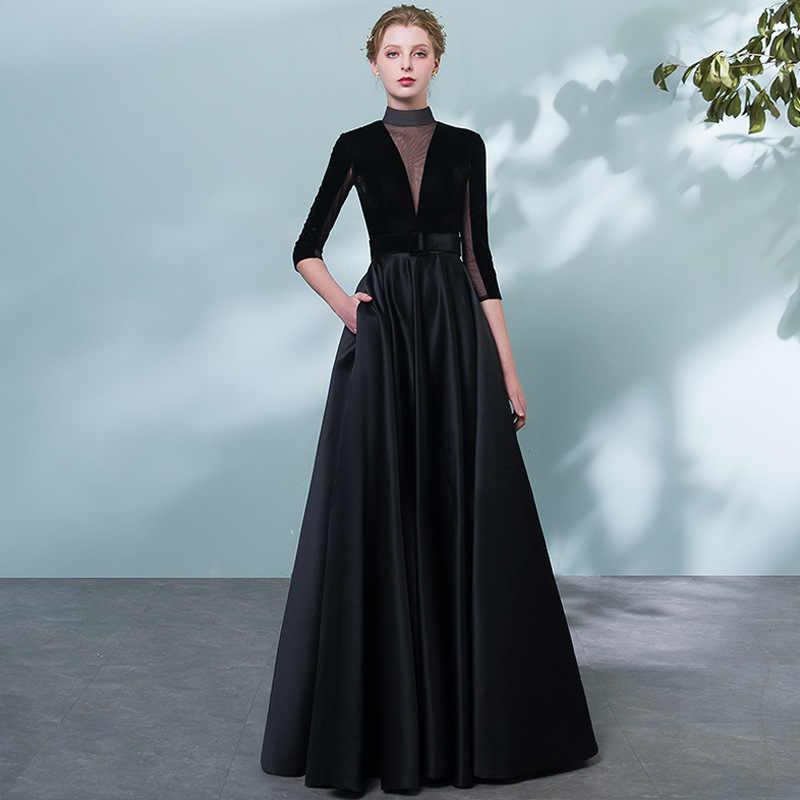 Popodion Vestido De Noche Negro Vestidos De Noche Largo Formal Vestido De Noche Vestido Formal Mujer Elegante Rom80146