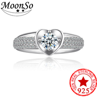2018 New Design Heart Shape 925 Sterling Silver Promise Ring For Women Wedding Engagement Ring Finger