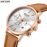 Megir luxury women watch rose gold quartz womens watches top brand leather strap wrist watches for women relojes para mujer 2018