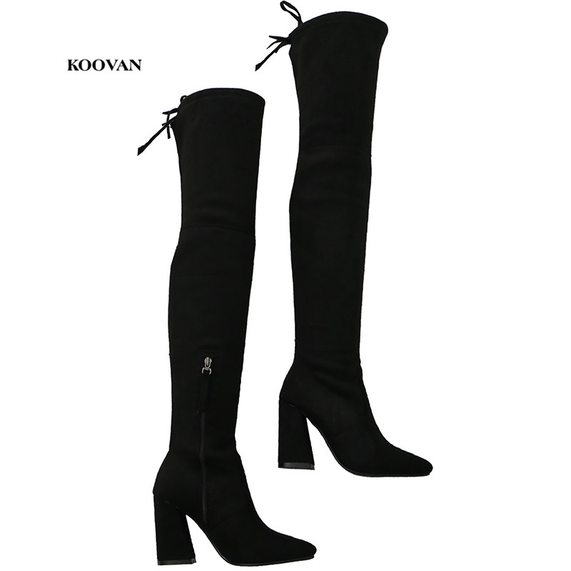 Chaussures D'hiver Et Bretelles Bottes Mode Épais À Over Pointu Hauts Warm the Black Automne De Zip Talons Zipper Femmes black Zipper Koovan Princesse genou 2017 OPk8XZNn0w