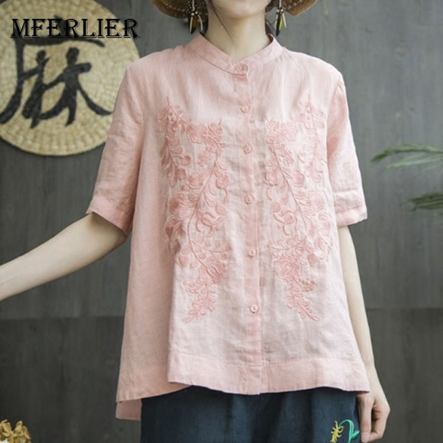 Mferlier Ladies Summer Chic Solid Embroidery Blouse Stand Collar