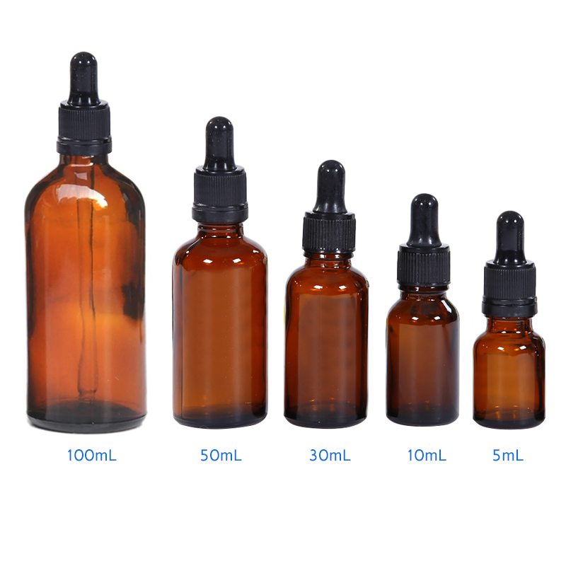 5-100ML Reagent Eye Dropper Drop Amber Glass Aromatherapy Liquid Pipette Bottle Refillable Glass Bottles