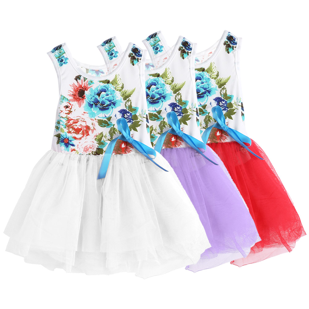 Kids Flower Dress Children Sleeveless Floral TuTu Dress Girls Spring Summer Princess Dress