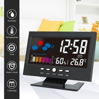 LCD Color Screen Digital Backlight Snooze Alarm Clock Thermometer Weather Forecast Station Indoor Temperature Party Favor