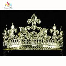 Paon Étoiles Imperial Médiévale Homecoming Pageant De Bal Full Circle Round Or Couleur Couronne de Roi Hommes CT1715
