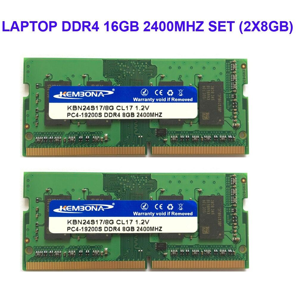 Kembona ORDINATEUR PORTABLE DDR4 16 gb KIT (2X8 gb) RAM Mémoire 2400 mhz Memoria 260-pin SODIMM RAM Bâton livraison gratuite