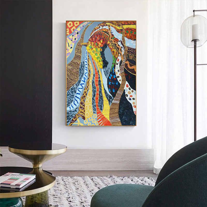 مجردة الأوروبية الصورة على جدار رائع الملونة زيتية لشكل الحصان اللوحة المشارك طباعة لغرفة المعيشة جدار الفن صالون اللوحات
