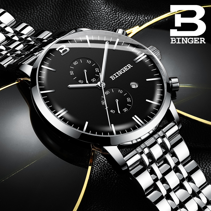 Switzerland BINGER Luxury Brand Automatic date Quartz Watches Mens Waterproof Chronograph Clock Relogio Masculino Luminous Watch genuine switzerland binger brand men automatic mechanical luminous calendar waterproof sports chronograph military gold watch