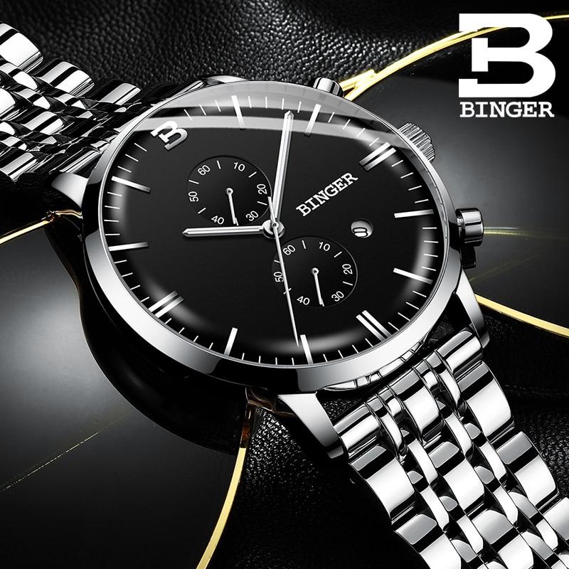 цена Switzerland BINGER Luxury Brand Automatic date Quartz Watches Mens Waterproof Chronograph Clock Relogio Masculino Luminous Watch