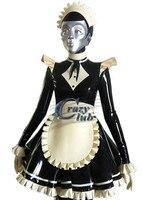 Секс Для Женщин Латекс костюм горничной Эротическая одежда со шляпой 100% чистый натуральный латекс ручной Черный и белый цвета костюм резин