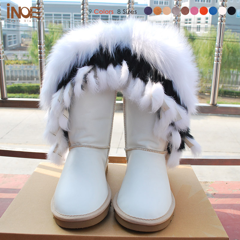 Real Genuine leather nature fox fur tassels high white snow boots ...