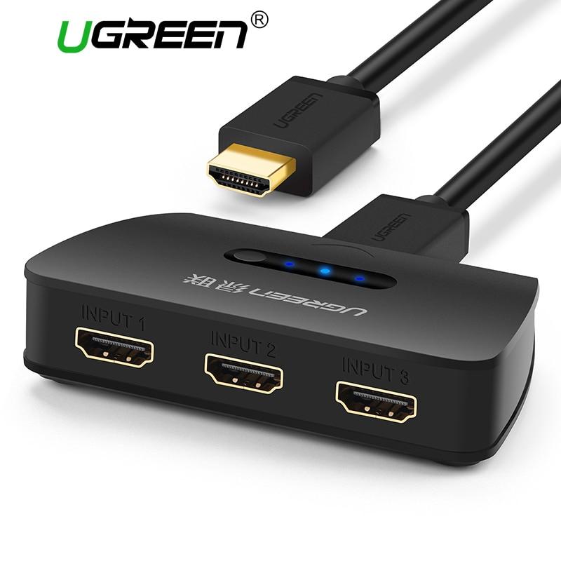 Ugreen 3 puertos HDMI interruptor 1080 P conmutador HDMI Splitter puerto HDMI para XBOX 360 PS3 PS4 Android HUB 3 entrada a 1 Adaptador HDMI