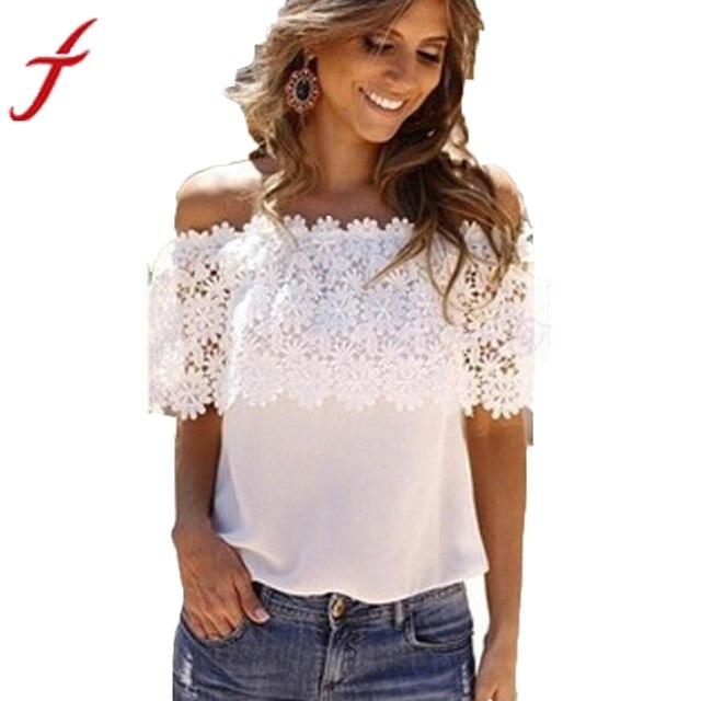efb2af9fe FEITONG Sexy Off Shoulder Blouse Women 2019 Fashion Beachwear Casual Tops  Lace White Chiffon Crochet Shirt blusas feminina