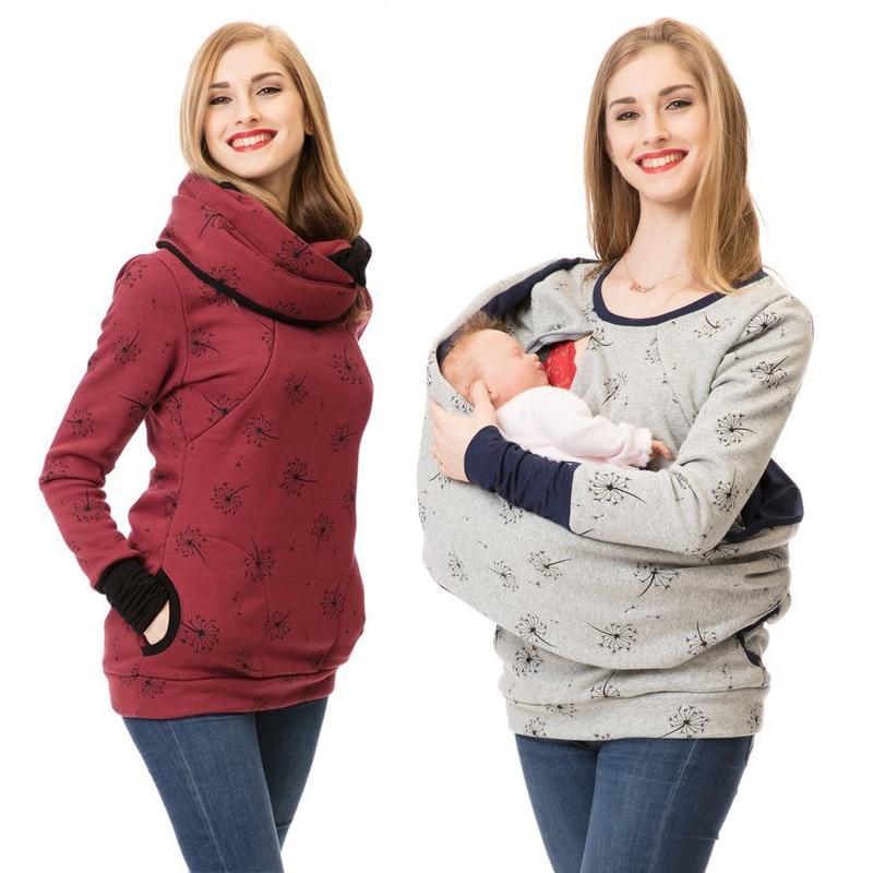 Thick Warm Nursing Sweatshirt Hoodie Women Long Sleeve Breastfeeding Shirt Winter For Feeding Maternity Pregnancy Clothes