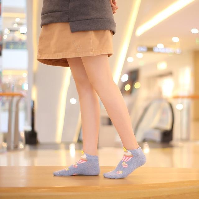 Women cotton socks cupcake Short Ankle Socks Cute Kawaii Cream Fairy Patty Cake Sugar Milk Lovely Funny socks