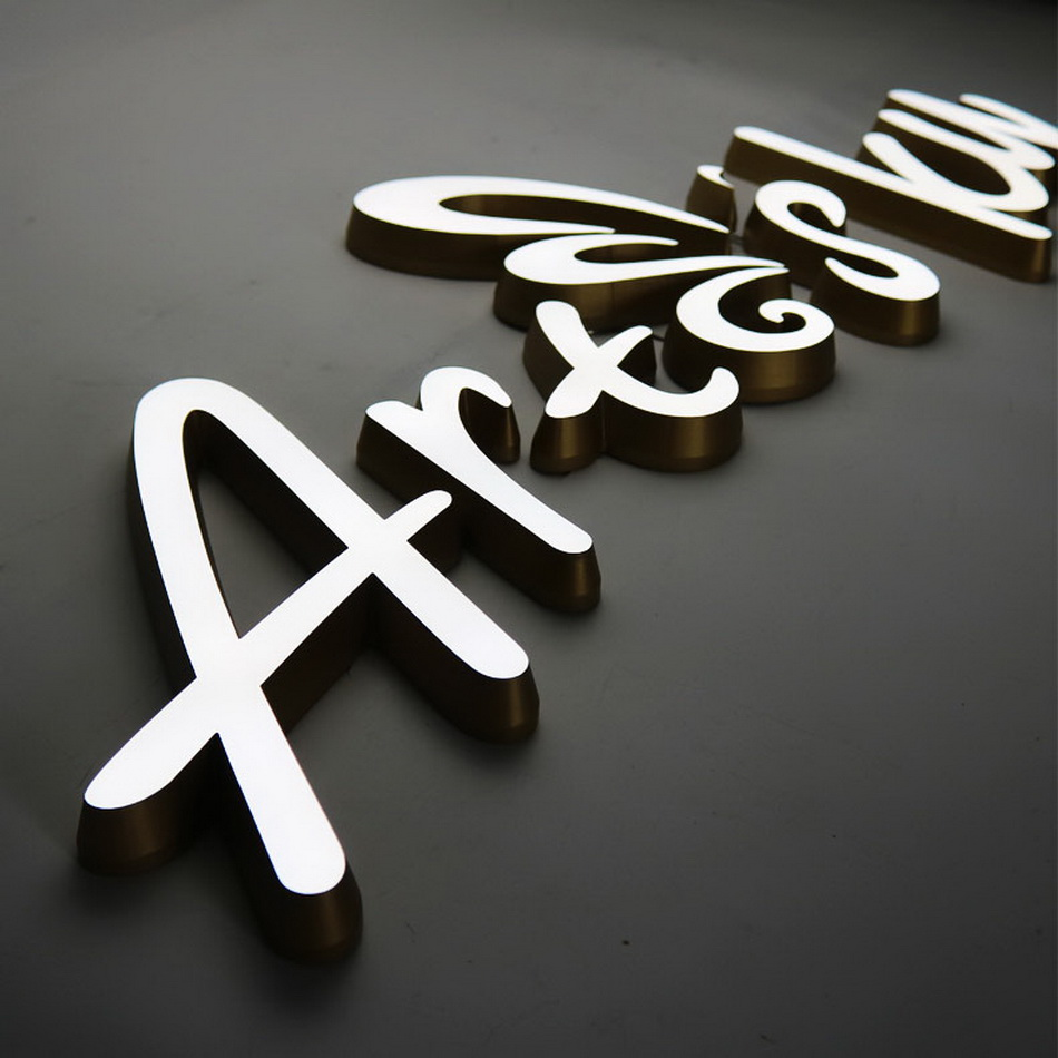 3D Eco-friendly Waterproof Acrylic Led Signage Golden Paint Letter Sign