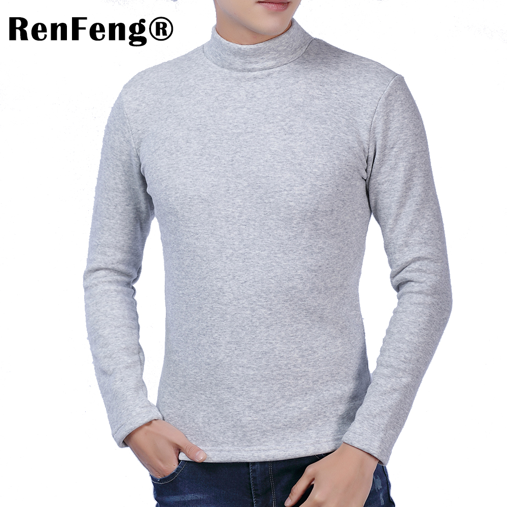 Men Long sleeves cotton t shirt autumn high neck casual fashion clothing Slim fit elasticity male Fitness tees tops Under shirt (5)