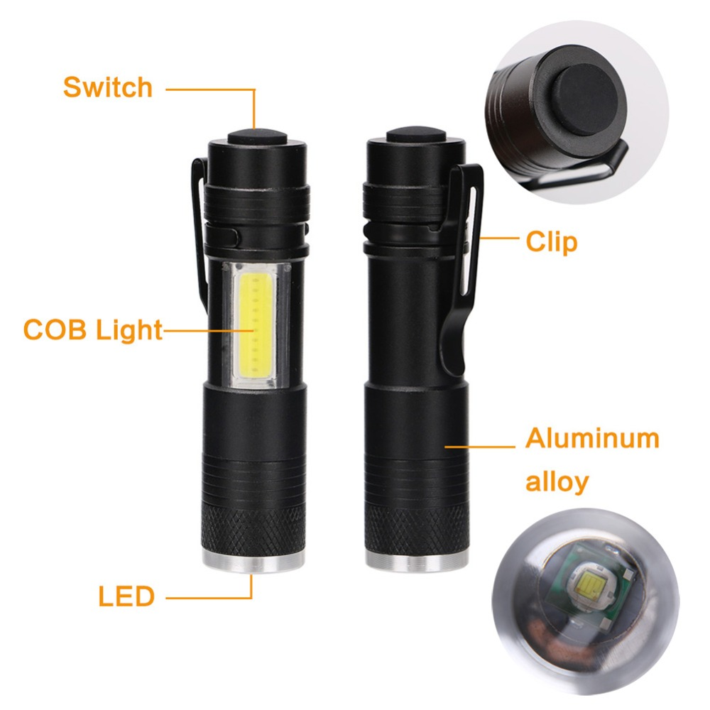800LM Mini Portable LED Flashlight Torch with Clip XPE LED+COB LED Flashlight 4 Mode Penlight Hunting Camping Light Use AA/14500 small sun zy 568 super mini aa led flashlight torch