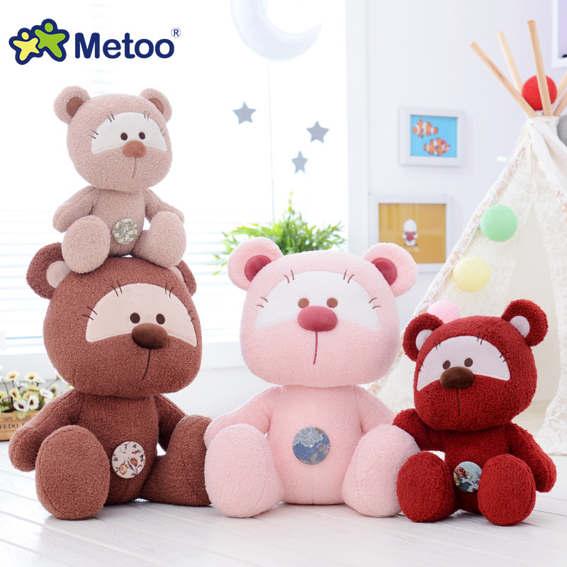 Stuffed Cartoon Metoo New Design Dolls Plush Super soft Gray Bears Button Styles Metoo Pink Bears Best Gifts for Kids 22 cm care bears beans best friends plush 25cm