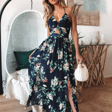цена на CUERLY Sexy v neck maxi long dress Women vintage high waist split summer dress Floral print backless party dress vestidos 2019