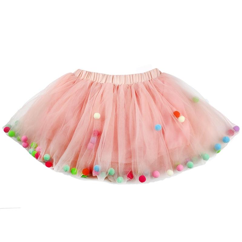 2021 Summer Baby Multilayer Tulle Tutu Skirt Colorful Pom Pom Princess Mini Dress Children Clothing Pettiskirt Girl Clothes 5