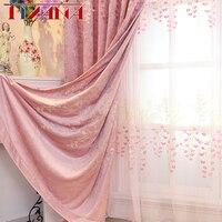 Épaissir Chenille Rideaux En Relief Brodé Fleur Rose Rideaux Pour Salon Tull Rideaux Pour Les Enfants Filles Chambre AG073 & 3