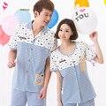 Пары 100% хлопок пижамы женщин или мужчин с короткими рукавами бытовые костюмы пижамы домашняя одежда