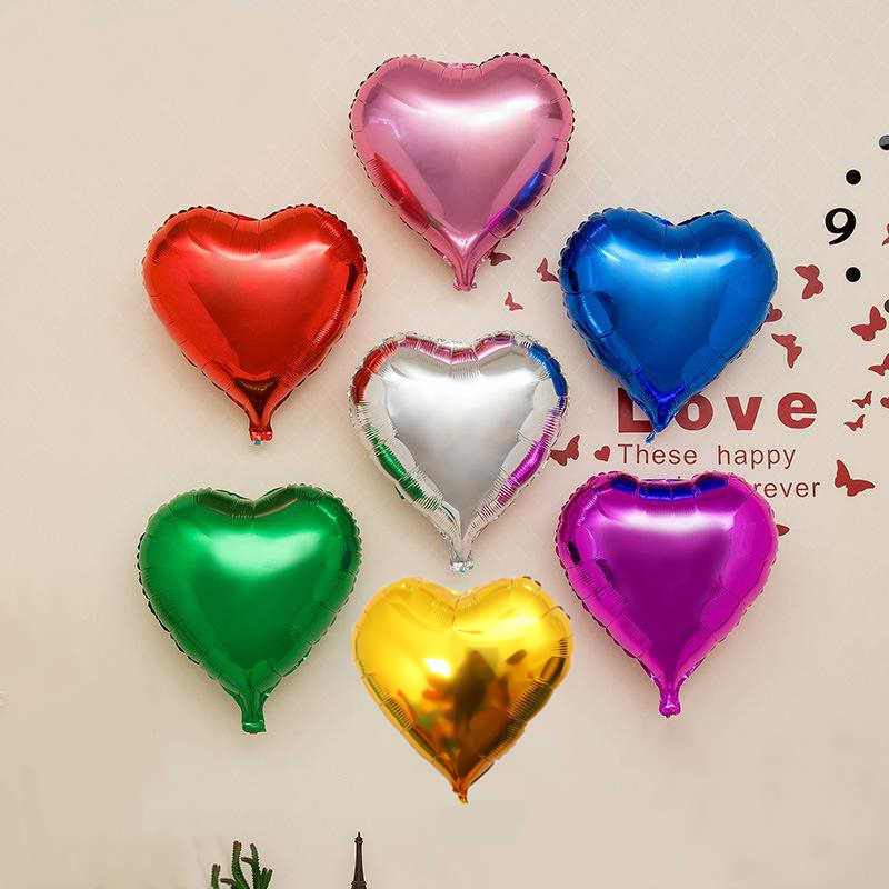 10pcs New Year Christmas Birthday Party Balloons For Adult/Kids 10 Inch Small Heart Batch Decoration Aluminium Foil Ballons