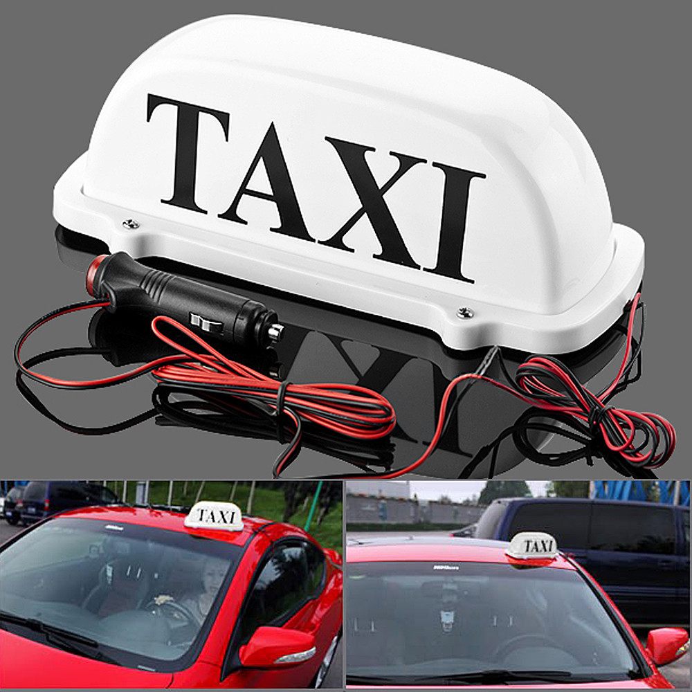 12v white Taxi Cab Top Waterproof led Lamp Magnetic Car Vehicle Indicator Lights with 3m cigarette lighter power cords