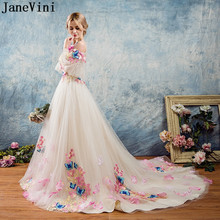 JaneVini Fantastic Long Prom Dresses 2018 Butterfly Decoration 3D Flowers Bow-Kn